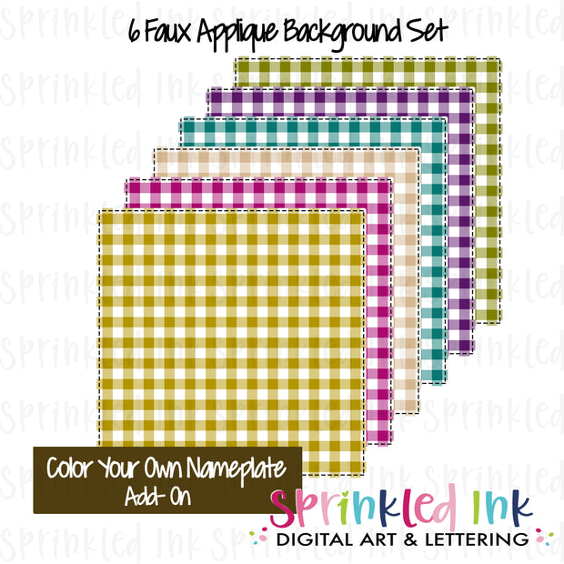 Watercolor PNG Faux Applique FALL Jewel Tone Gingham Background Set Digital Download File
