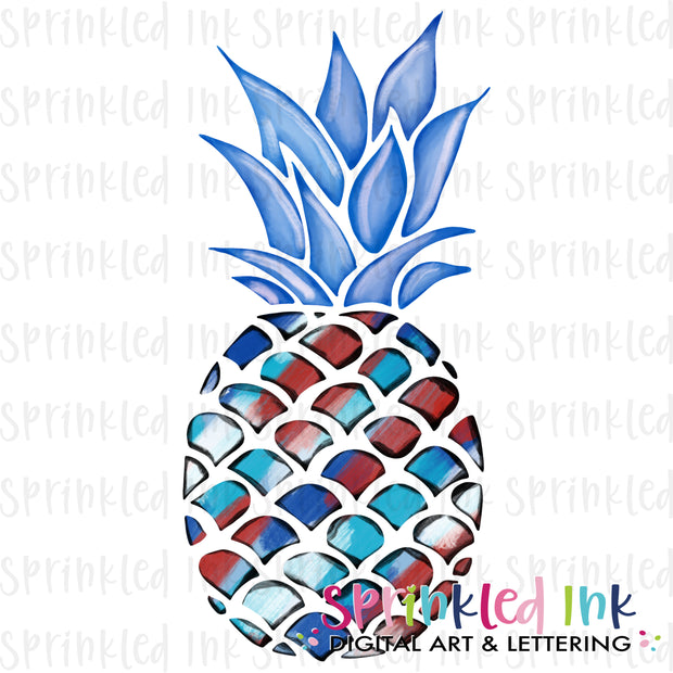 Watercolor PNG Patriotic Painted Pineapple Download File