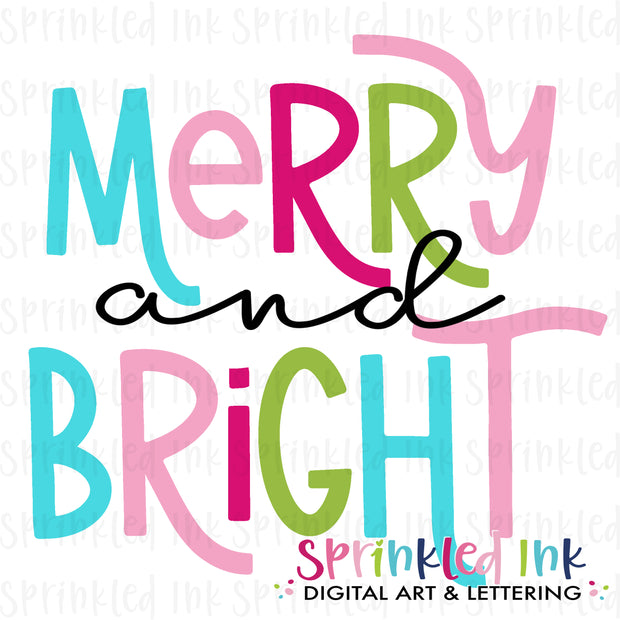 Watercolor PNG Merry and Bright Word Art Download File