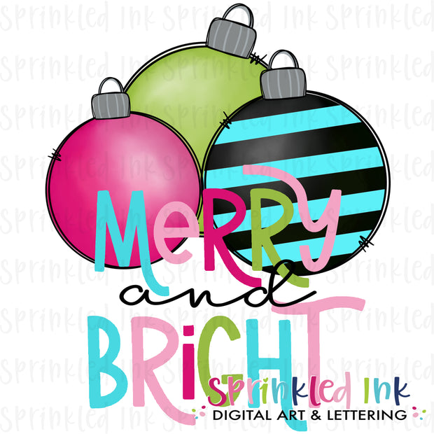 Watercolor PNG Merry and Bright Ornament Cluster Download File