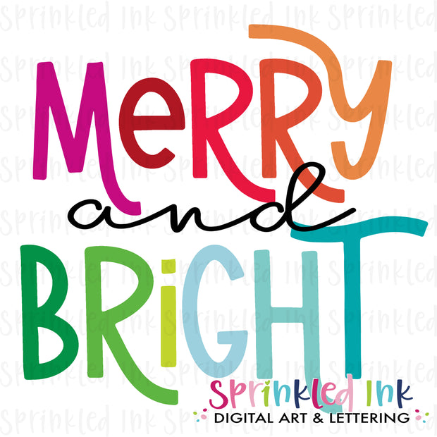 Watercolor PNG Merry and Bright Rainbow Download File