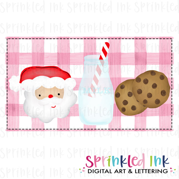 Watercolor PNG Milk and Cookie Santa Download File