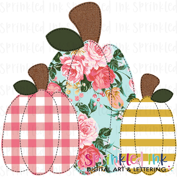 Watercolor PNG Faux Applique Squishy Pumpkin Trio |M2M Jane| Digital Download File