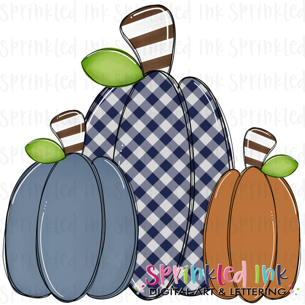 Watercolor PNG Fall Squishy Pumpkin Trio |Navy Gingham| Digital Download File
