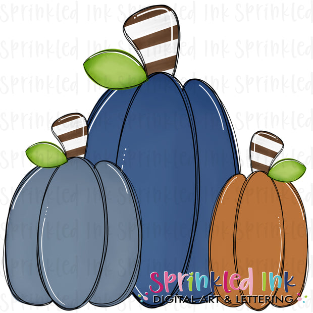Watercolor PNG Fall Squishy Pumpkin Trio |Navy Blue and Orange| Digital Download File