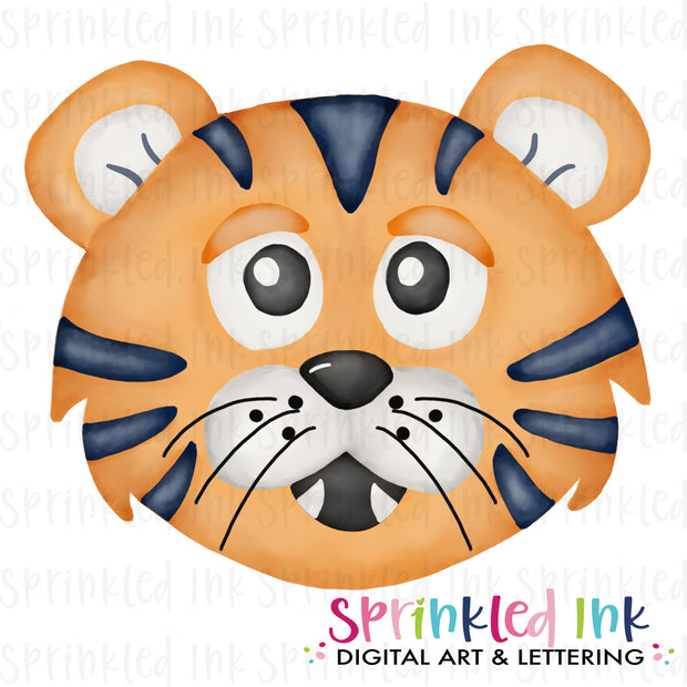 Watercolor PNG |MASCOT| Orange and Navy Tiger Download File