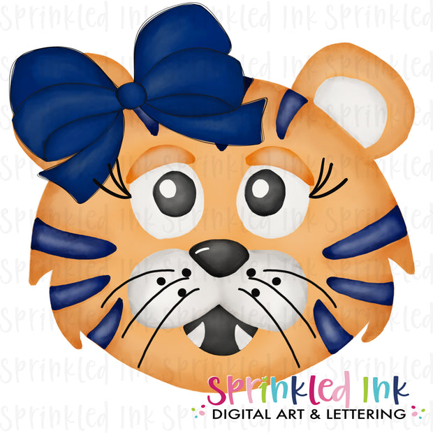 Watercolor PNG |MASCOT| Orange Tiger with Navy Bow Download File