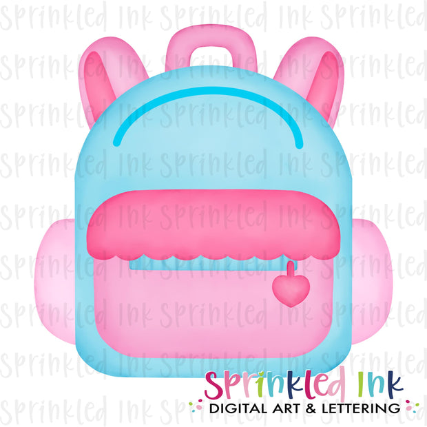 Watercolor PNG Pink Back to School Backpack Digital Download File