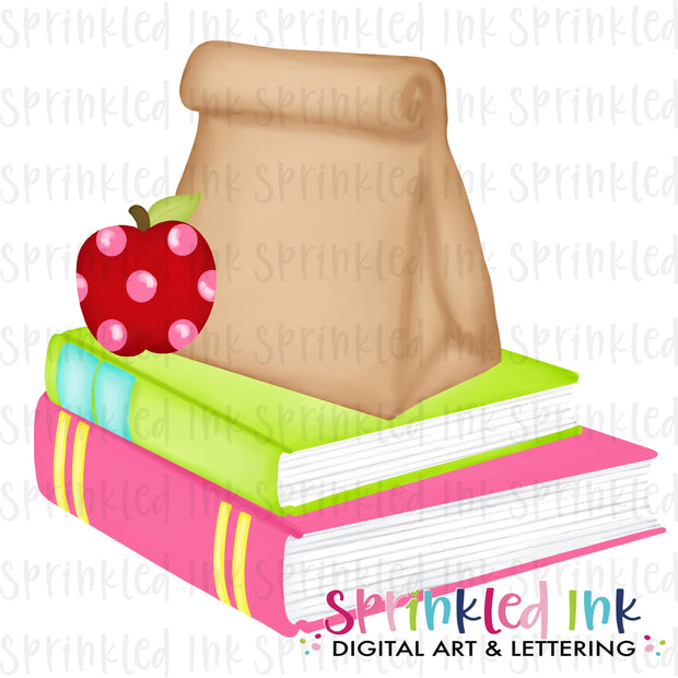 Watercolor PNG Pink Stack of Books and Lunch Digital Download File
