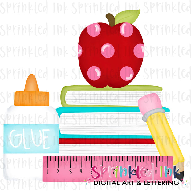 Watercolor PNG Girls School Supplies Digital Download File