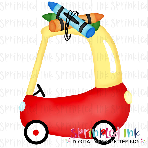 Watercolor PNG Cozy Coupe School Crayons Primary Digital Download File