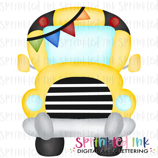Watercolor PNG School Bus with Primary Banner Digital Download File