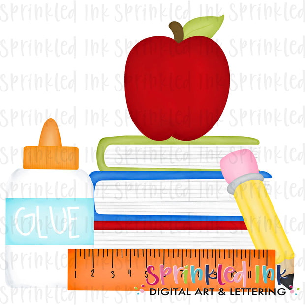 Watercolor PNG Boys Primary School Supplies Digital Download File