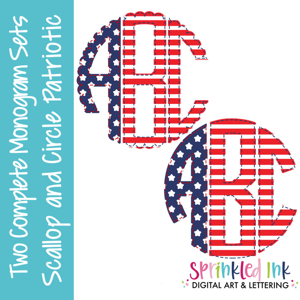 Watercolor PNG 2 Patriotic Faux Applique Scallop and Circle Monogram Sets Digital Download File - Sprinkled Ink Digital Designs