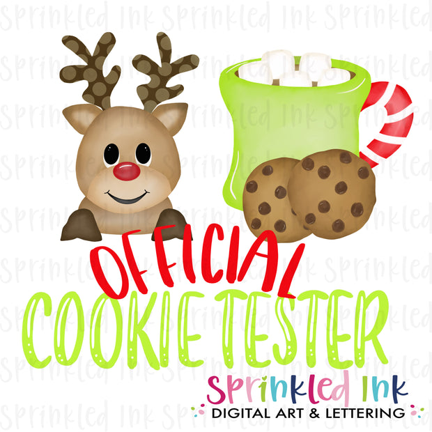 Watercolor PNG Official Cookie Tester Rudolph Download File