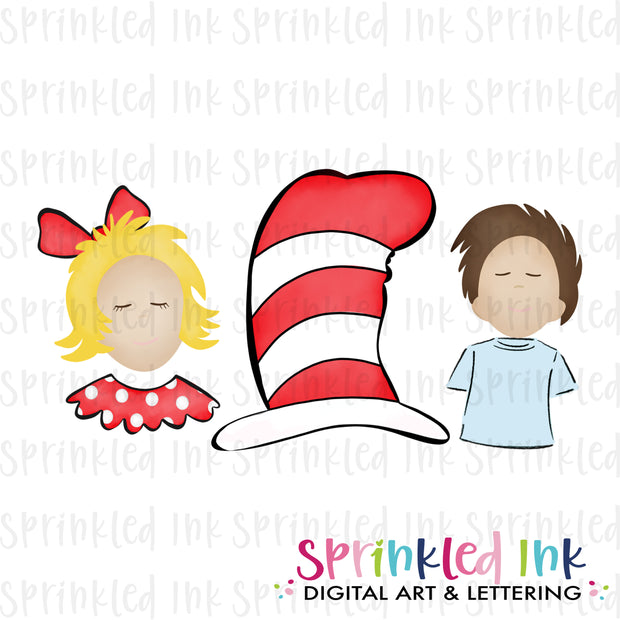 Watercolor PNG Sister Brother Tall Hat Cat Trio Digital Download File