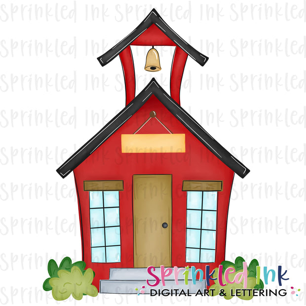 Watercolor PNG Red School House Digital Download File