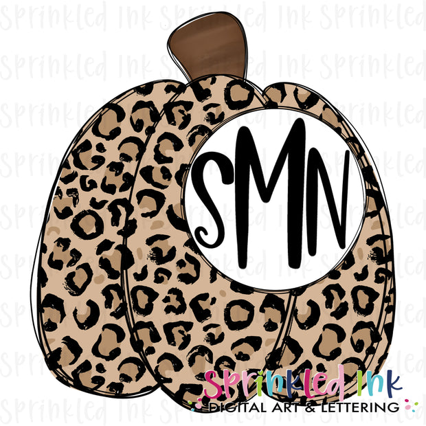 Watercolor PNG Fall Tan Leopard Pumpkin Monogram Digital Download File