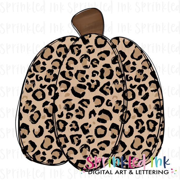 Watercolor PNG Fall Tan Leopard Pumpkin Digital Download File