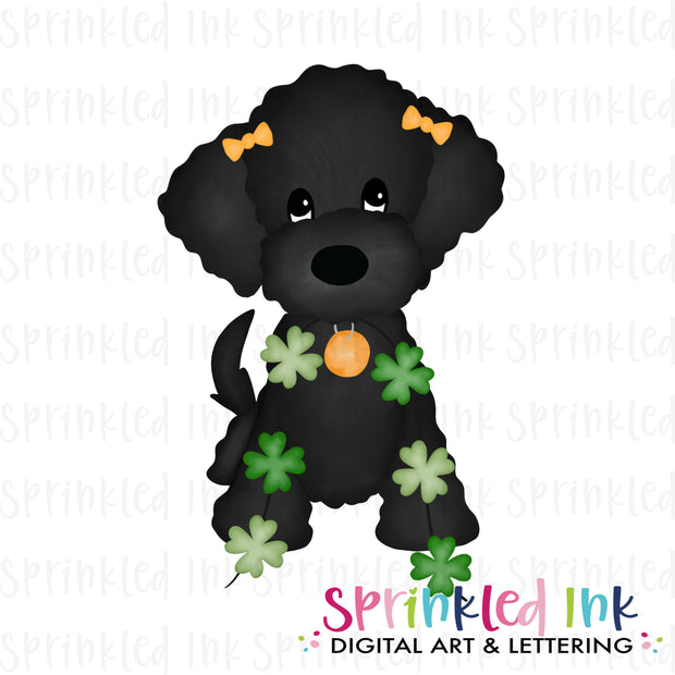 Watercolor PNG Black Doodle Girl with String of Clovers Download File