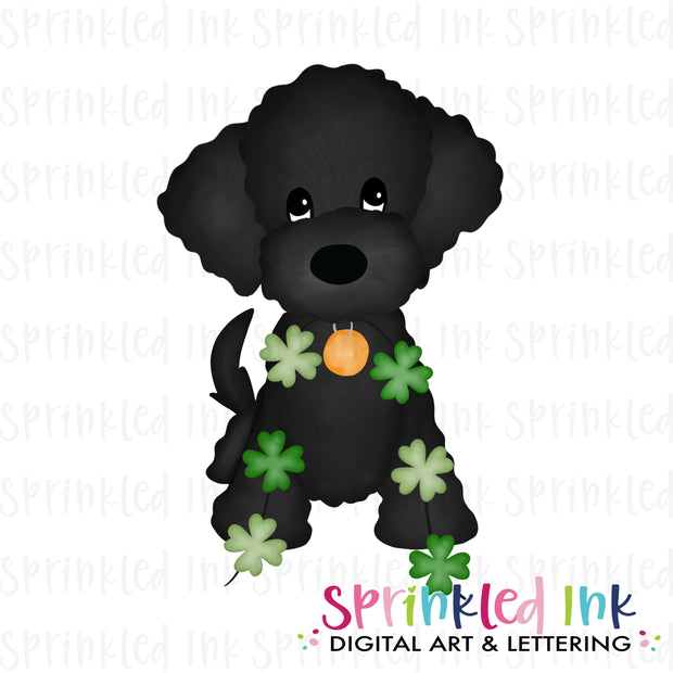 Watercolor PNG Black Doodle with String of Clovers Download File