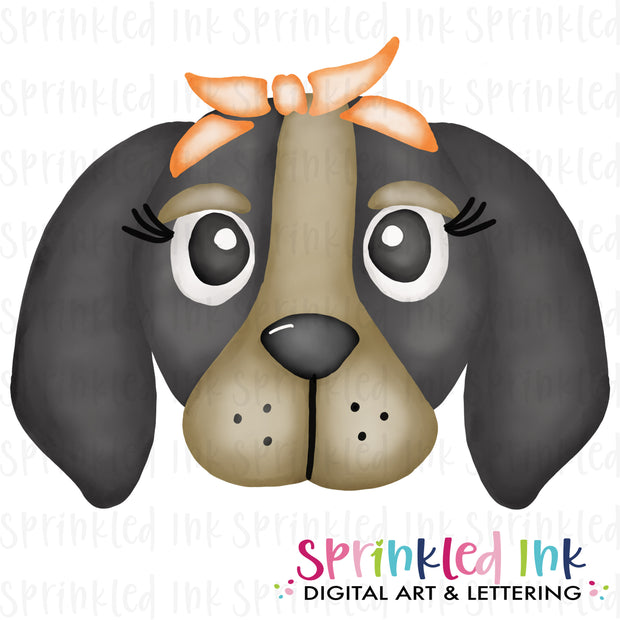 Watercolor PNG |MASCOT| Smokey Hound with Orange Bandana Download File