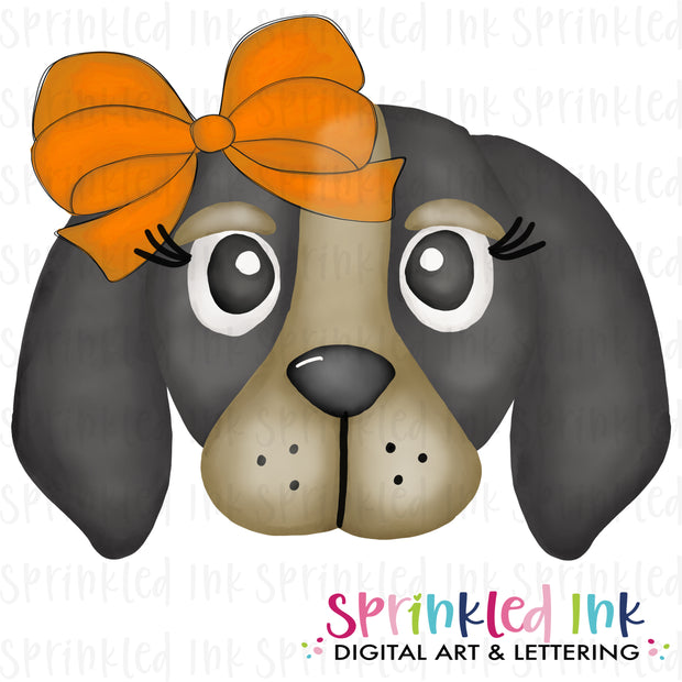 Watercolor PNG |MASCOT| Smokey Hound with Orange Bow Download File