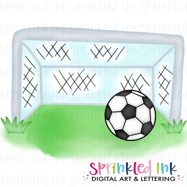Watercolor PNG Soccer Goal Digital Download File
