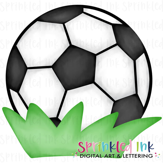 Watercolor PNG Soccer Ball in Grass Digital Download File