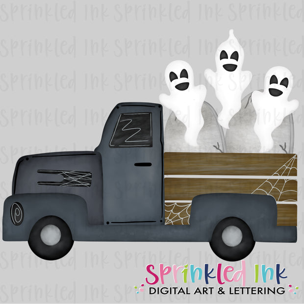 Watercolor PNG Halloween Spooky Truck |Ghouls and Ghosts| Digital Download File