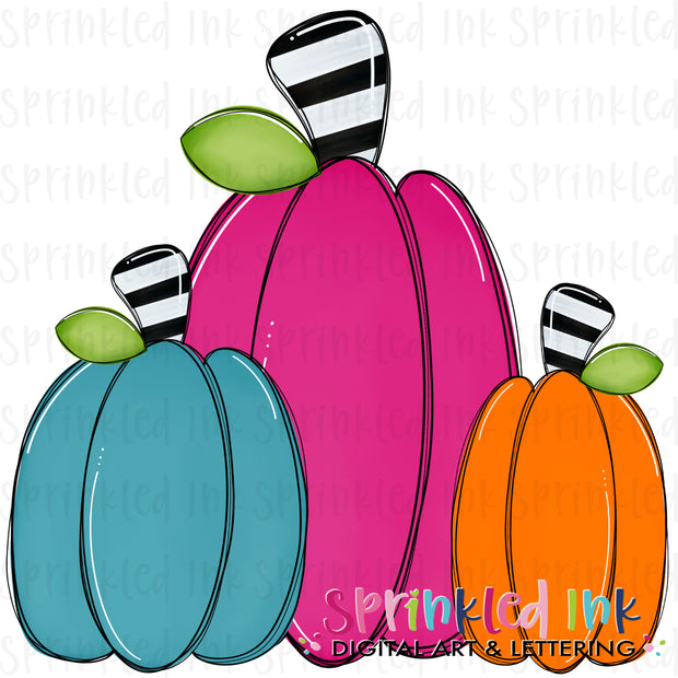 Watercolor PNG Fall Squishy Pumpkin Trio |Whimsy Girl| Digital Download File