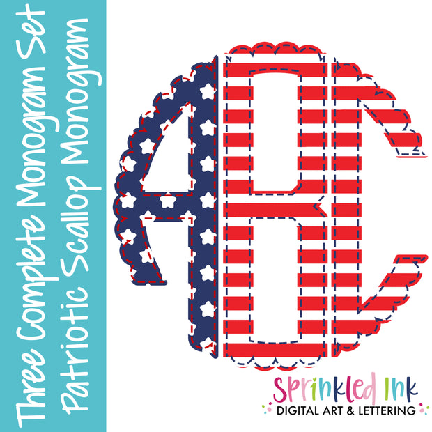 Watercolor PNG Patriotic 3 Letter Faux Applique Scallop Circle Monogram Set Digital Download File - Sprinkled Ink Digital Designs