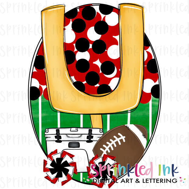 Watercolor PNG Tailgates and Touchdowns Red and Black Team Colors Download File