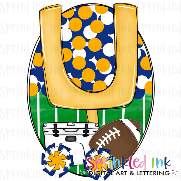Watercolor PNG Tailgates and Touchdowns Blue and Gold Team Colors Download File