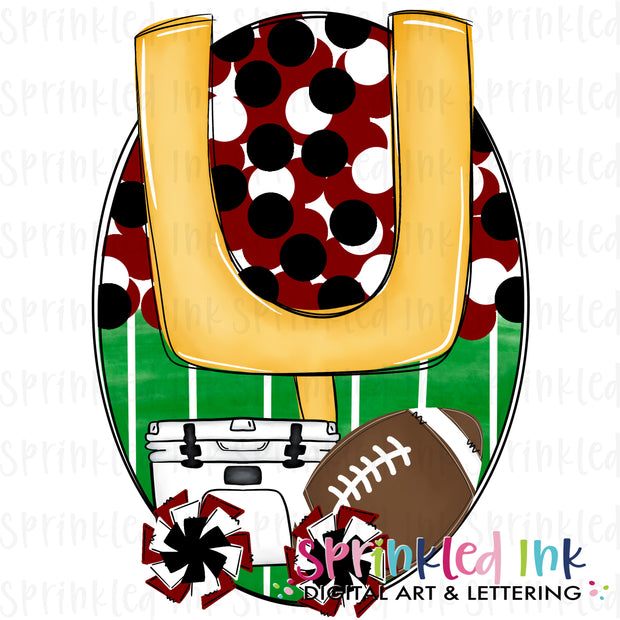 Watercolor PNG Tailgates and Touchdowns Garnet and Black Team Colors Download File