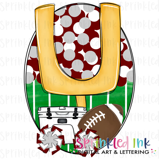 Watercolor PNG Tailgates and Touchdowns Maroon and Lt. Grey Team Colors Download File