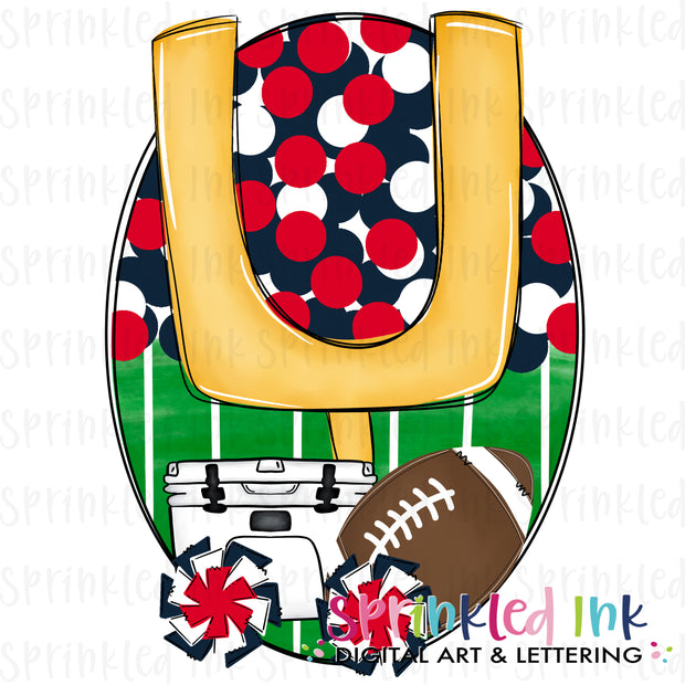 Watercolor PNG Tailgates and Touchdowns Red, White and Navy Team Colors Download File