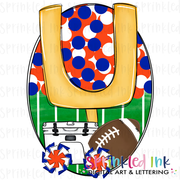 Watercolor PNG Tailgates and Touchdowns Orange and Blue Team Colors Download File