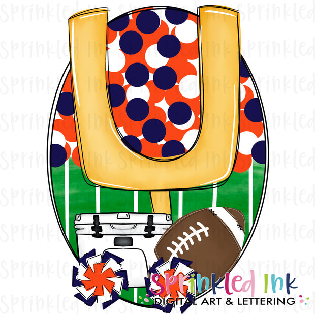 Watercolor PNG Tailgates and Touchdowns Orange and Navy Team Colors Download File