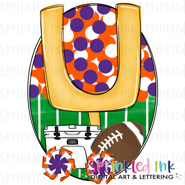 Watercolor PNG Tailgates and Touchdowns Orange and Purple Team Colors Download File