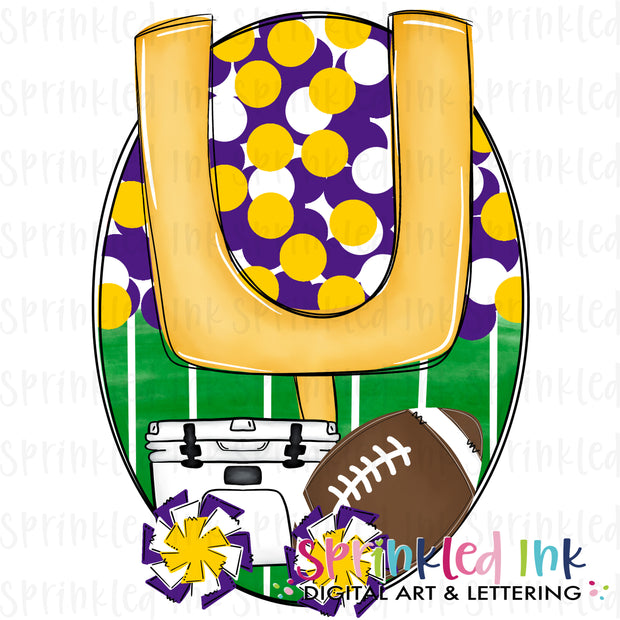 Watercolor PNG Tailgates and Touchdowns Purple and Gold Team Colors Download File