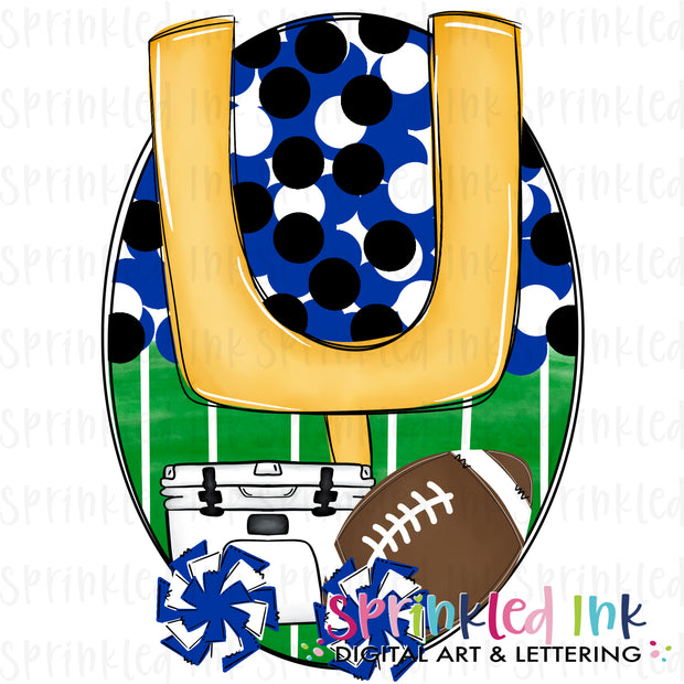 Watercolor PNG Tailgates and Touchdowns Royal and White Team Colors Download File