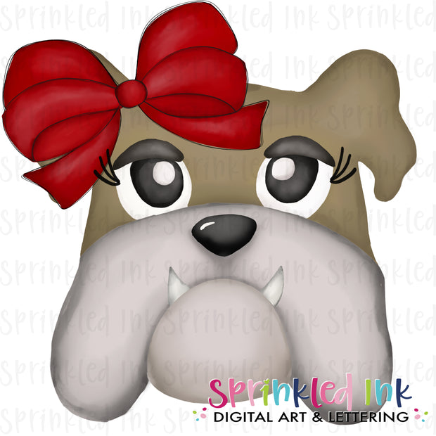 Watercolor PNG |MASCOT| Tan Bulldog with Red Bow Download File