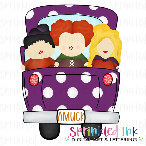 Watercolor PNG Witch Sisters Halloween Truck Download File