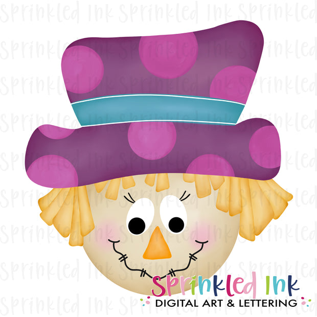 Watercolor PNG Whimsy Scarecrow Girl Digital Download File