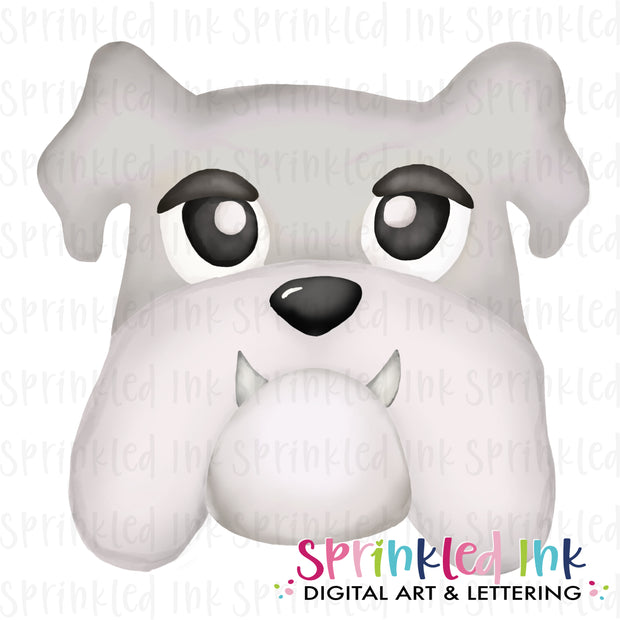 Watercolor PNG |MASCOT| White and Grey Bulldog Download File