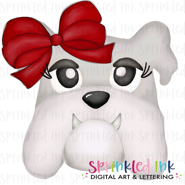 Watercolor PNG |MASCOT| White and Grey Bulldog with Red Bow Download File