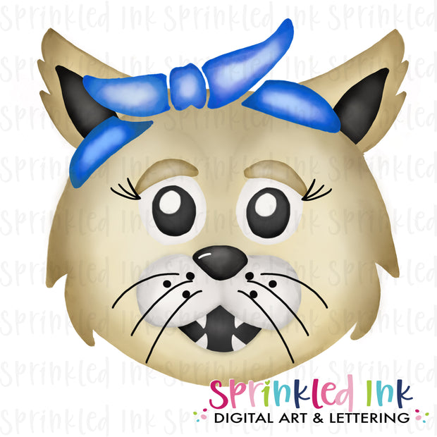 Watercolor PNG |MASCOT| Wildcat with Blue Bandana Download File