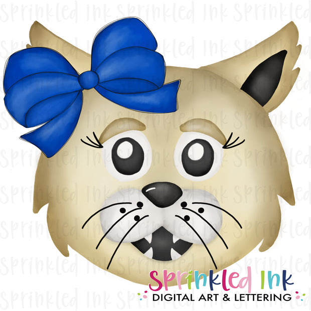 Watercolor PNG |MASCOT| Wildcat with Blue Bow Download File
