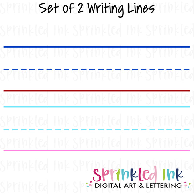 Watercolor PNG Primary Writing Lines Digital Download File